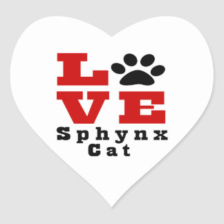 Love Sphynx Cat Designes Heart Sticker