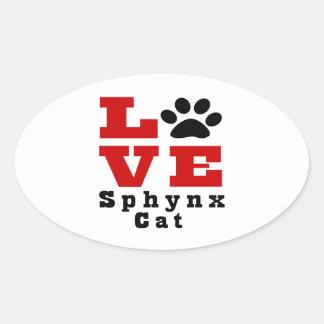 Love Sphynx Cat Designes Oval Sticker