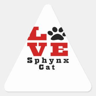 Love Sphynx Cat Designes Triangle Sticker