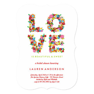 "LOVE Spring Flowers Colorful Bridal Shower Party 5"" X 7"" Invitation Card"