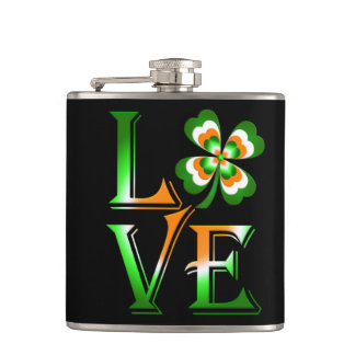 Love St Patrick's Day Hip Flask