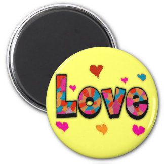 """LOVE"" Stained Glass Look Gifts 2 Inch Round Magnet"