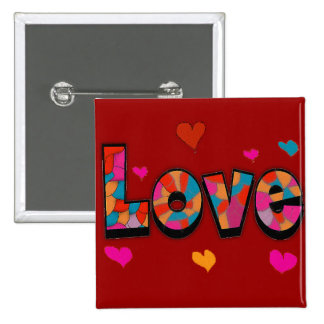 """""""LOVE"""" Stained Glass Look Gifts 2 Inch Square Button"""