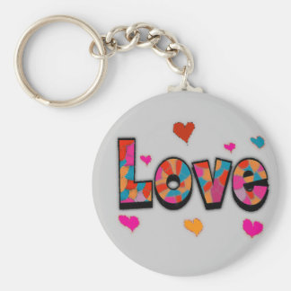 """""""LOVE"""" Stained Glass Look Gifts Basic Round Button Keychain"""
