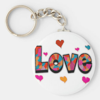 """LOVE"" Stained Glass Look Gifts Basic Round Button Keychain"