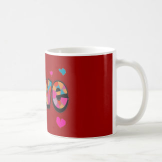 """LOVE"" Stained Glass Look Gifts Basic White Mug"