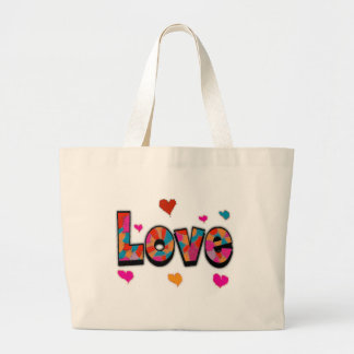 """""""LOVE"""" Stained Glass Look Gifts Jumbo Tote Bag"""