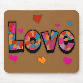 """""""LOVE"""" Stained Glass Look Gifts Mouse Pad"""