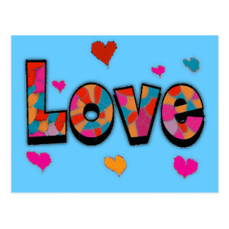 """""""LOVE"""" Stained Glass Look Gifts Postcard"""