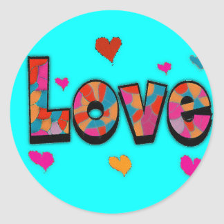 """""""LOVE"""" Stained Glass Look Gifts Round Sticker"""