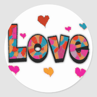 """""""LOVE"""" Stained Glass Look Gifts Classic Round Sticker"""