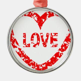 Love Stamp Silver-Colored Round Ornament