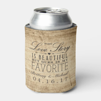 Love Story Barn Wood Rustic Wedding Can Cooler