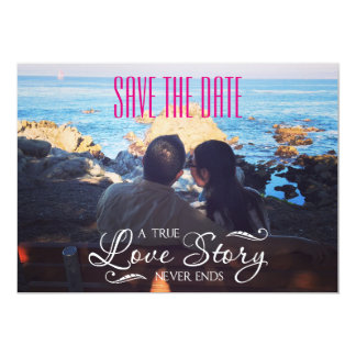 "LOVE STORY SAVE THE DATE 5"" X 7"" INVITATION CARD"