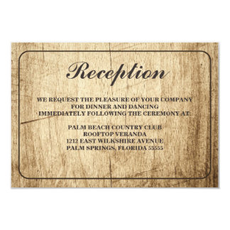 "Love Story Typography Vintage Barn Wood Reception 3.5"" X 5"" Invitation Card"