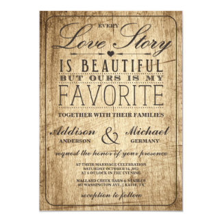 "Love Story Typography | Vintage Barn Wood Wedding 5"" X 7"" Invitation Card"