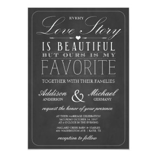 "Love Story Typography | Vintage Chalkboard Wedding 5"" X 7"" Invitation Card"