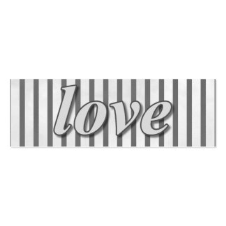 """Love"" Striped Background Black and White Mini Business Card"