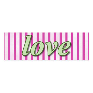 """Love"" Striped Background Magenta Green Mini Business Card"