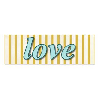 """""""Love"""" Striped Background Orange Blue Aqua Mini Business Card"""
