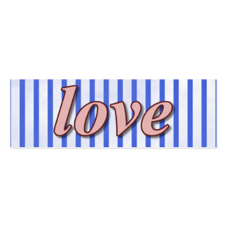 """Love"" Striped Background Pink Red Blue Mini Business Card"