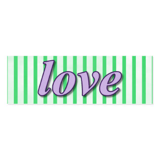 """Love"" Striped Background Purple Green Mini Business Card"