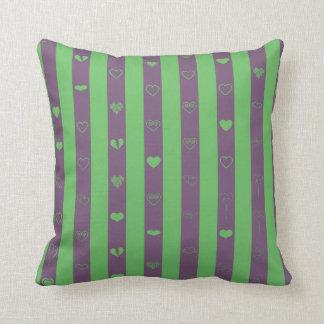 Love stripes pattern dark magenta and green throw pillow