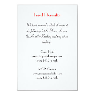 "Love Struck Las Vegas Wedding Extra Info Card 3.5"" X 5"" Invitation Card"