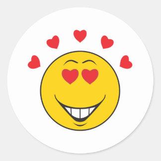 Love Struck  Smiley Face Round Sticker