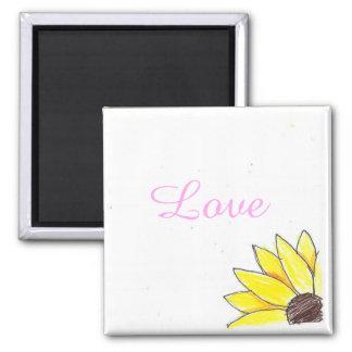 Love sunflower square magnet