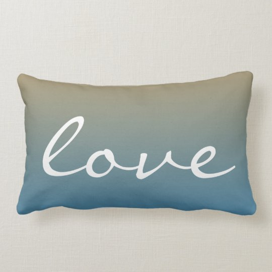 Love sunset blue peach lumbar pillow