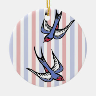 Love Swallows Ceramic Ornament