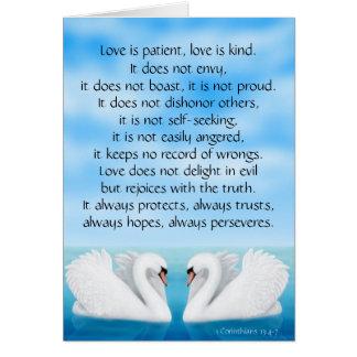 Love Swans 1 Corinthians 13 Bible Scripture Card