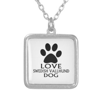 LOVE SWEDISH VALLHUND DOG DESIGNS SILVER PLATED NECKLACE