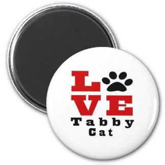 Love Tabby Cat Designes 2 Inch Round Magnet