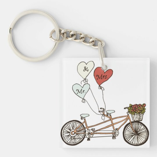 Love tandem bike with balloons keychain