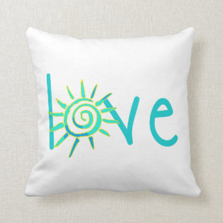 Love Teal with Sunburst Boho Pillow