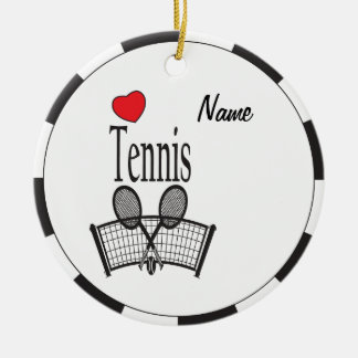 Love Tennis in Black and White Ceramic Ornament