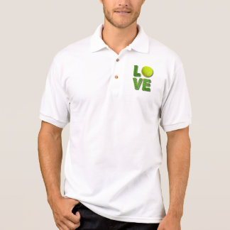 Love Tennis Yellow Ball Green Grass Letters Polo Shirt