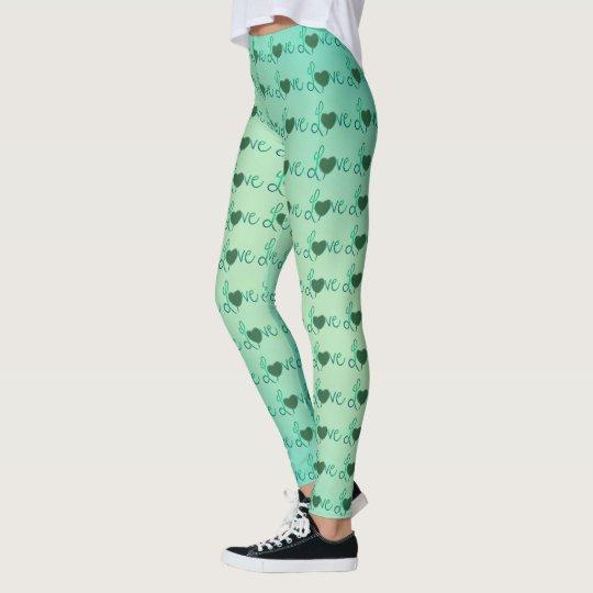 Love text design green heart pattern Leggings