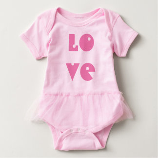 Love Text Funny Sweet Pink Tutu Typography Baby Bodysuit