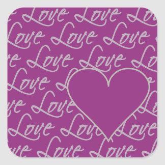 Love Text stickers, customize Square Sticker
