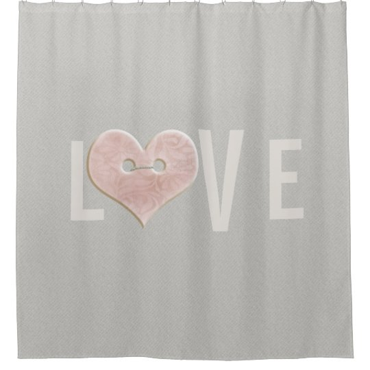 LOVE: Text with Pink Heart | Shower Curtain