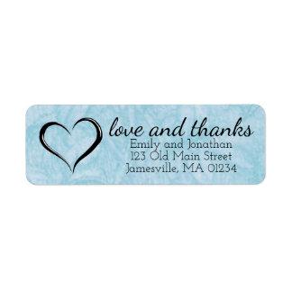 Love & Thanks Blue Wedding Return Address Labels