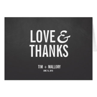 Love & Thanks Chalkboard Thank You Note Cards