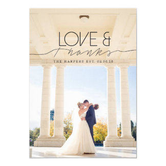 Love & Thanks | Chic and Formal Thank You Photo Card