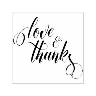 Love & Thanks Elaborate Script Typography Self-inking Stamp