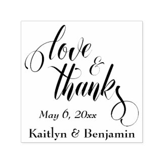 Love & Thanks Elaborate Script w/ Your Details Self-inking Stamp