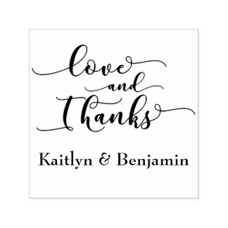 Love & Thanks Elegant Script w/ Your Details Self-inking Stamp