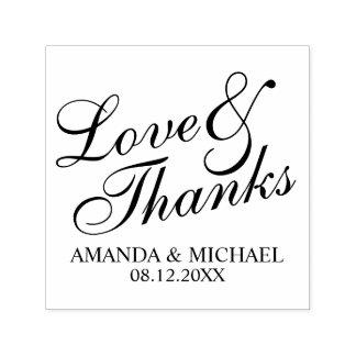 'Love & Thanks' Elegant Wedding Favor Self-inking Stamp